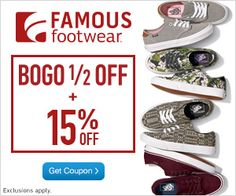 BOGO 50% Off At Famous Footwear + Extra 15% Off!