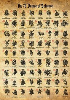 72 Demons of Solomon, Occult Print, Witches Illustration, Witchcraft Poster, Magick Art Size Paper Size Wiccan Spells, Magick, Witchcraft, Alchemy Symbols, Magic Symbols, Demon Symbols, Sigil Magic, Mythological Creatures, Mythical Creatures