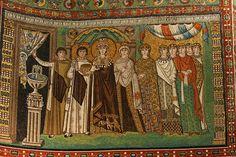 Teodora e le sue dame - Basilica di San Vitale a Ravenna - Arte Bizantina/Cristiana (IV secolo d.c.)