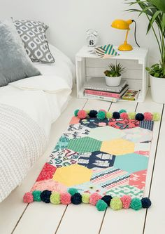 Happy Home Pompom Rug by Caroline Hulse for Love Patchwork & Quilting issue 27