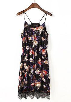 Multicolor Flowers Print Round Neck Ankle Chiffon Dress
