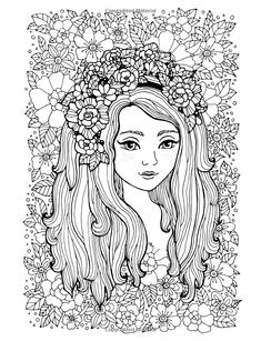 Coloring Books For Girls: Princess & Unicorn Designs: Advanced Coloring Pages for Tweens, Older Kids & Girls, Detailed Zendoodle Designs & Patterns, . Practice for Stress Relief & Relaxation People Coloring Pages, Adult Coloring Pages, Coloring Books, Cool Artwork, Amazing Artwork, Boutique Logo, Portrait Sketches, Book Girl, Pattern Design