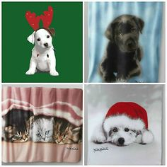 Keith Kimberlin Fleece Throw-Dog w/Antlers & Lights/Black Lab/Kittens/Santa Dog - Re-list December 8, 2013 (info saved)