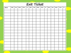 This recording sheet can be used to make down if students successfully answer the exit ticket/question. There are two types or recording sheets:    Class of 20 for 15 days or a class of 20 for 5 days. Both come with or without cute dot border.    Please note: I would be happy to customize the size of the graph to fit your class size. Just let me know.