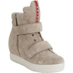 Prada Linea Rossa Double-strap Hidden-wedge Sneakers