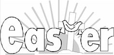 Christian cross styled Easter coloring-in letters
