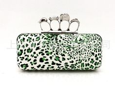 Ladies' Skull Clutch Knuckle Rings Handbag, CHEETA Four Fingers Evening Bag with Shoulder Chain punk wallet free shipping EB058-in Evening Bags from Luggage & Bags on Aliexpress.com