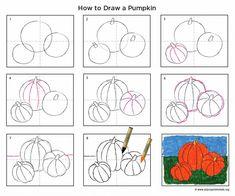 Perspective pumpkin drawing