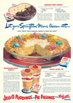"Jell-O Chocolate Party Pudding, Butterscotch Jewel Parfait + Easter Sunday Pie Recipes from ""Good Housekeeping"" 