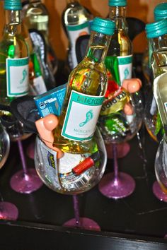 I love the tiny wine to include in each girl's bachelorette kit