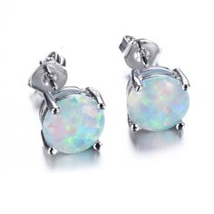 JunXin Three Color 925 Sterling Silver Round Cut Opal Stud Earring 7.5MM -- Be sure to check out this awesome product.
