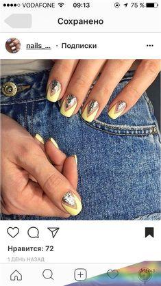 Ideas for nails design cool nailart Pastel Nails, Yellow Nails, Nails Inc, Diy Nails, Love Nails, Pretty Nails, Seasonal Nails, Accent Nails, Cool Nail Designs
