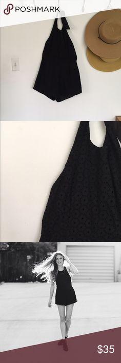 Urban Outfitters black crochet romper Black crochet - double lined. Worn once. Urban Outfitters Other