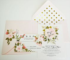 I absolutely love a modern vintage combo of polka dots and floral! The envelope liners in gold foil add a ton of romance and fun to this wedding