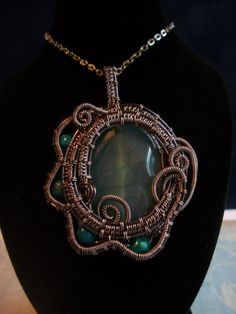 Wire Wrapped Teal Agate Pendant with by BuyThePlaceWithBeads, $35.00