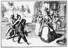 """Highlights from """"The kidnapping of Isabella"""".  The Captain, lover rejected by Isabella and teased by Harlequin, is coming on to her again, but there's no chance for him. And Harlequin is mocking him as usual, too."""