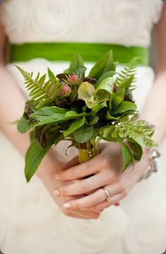 Foliage can be just as beautiful as the most elaborate mix of flowers, a varied selection is used in this Wedding bouquet giving an amazing woodland feel - loved by Jemini Flowers, Oxford (www.jemini.co.uk)