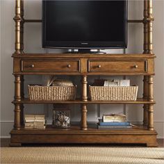 Lexington Twilight Bay Merideth Console in Chestnut - Features:  Chestnut finish - warm saddle brown coloration with slight distressing  Two drop-front drawers for media components. Ventilated backs. One open shelf space. Console table. Available in two finishes. Twilight Bay collection