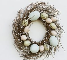 Faux Pussy Willow Easter Egg Wreath | Pottery Barn