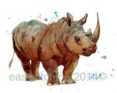RHINOCEROS Print safari animals safari art by eastwitching on Etsy African Animals, African Safari, Rhino Art, Safari Nursery, Nursery Art, Nursery Ideas, Thick Skin, Rhinoceros, Safari Animals