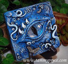 Ooak Polymer Clay Dragon's Eye Blue 3 Dimensional by Tammy Pryce 48