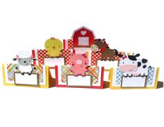Items similar to 6 Barnyard Girly Farm Animal's with Bow's Themed Tent Style Food Table Label's / Name Cards on Etsy Farm Party Decorations, Table Labels, Name Cards, Farm Animals, Tent, Girly, Bows, Holiday Decor, Handmade Gifts