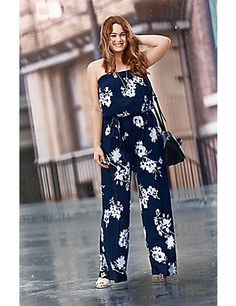 The always-flattering jumpsuit takes to the season in a sexy strapless design and fresh floral print. Elastic top keeps the fit secure, with optional adjustable straps to change up the look. Slash pockets.  lanebryant.com