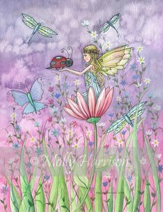 Fairy Print - Little Fairy with Ladybug and Butterflies .