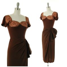 Vintage Cocktail Dress - Rare Dorothy O'Hara Dress in Chocolate Brown Rayon with Sexy Nude Illusion Lace Bodice 1920s Fashion Women, 1950s Fashion, Vintage Fashion, Retro Outfits, Vintage Outfits, Vintage 1950s Dresses, Vintage Wardrobe, Lace Bodice, Chocolate Brown
