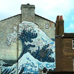 Hokusai Great Wave Mural Camberwell London by blackbirdphotoUK