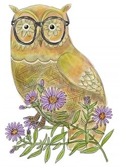 Owl with Asters by nearsightedowl