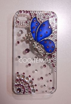 Coming soon- bling blue crystal butterfly hard case for Iphone 4