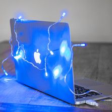 USB Christmas Lights, 10 Blue LEDs On Clear Cable For Mac & PC