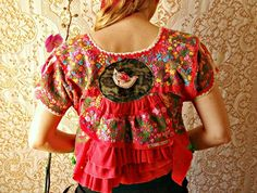 reconstructed vintage mexican dress cropped jacket embroidery flowers doves ooak