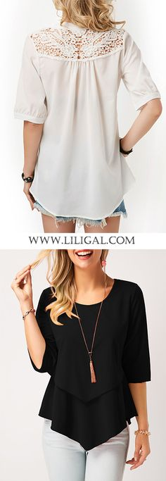 Girls summer is comming you must need a basic top for wardrobe just like these two cute blouses: white lace panel blouse or black layered blouse. Red Knit Dress, Girls Knitted Dress, Knit Baby Dress, Womens Trendy Tops, Cute Blouses, Plus Fashion, Womens Fashion, Fashion Ideas, Basic Tops