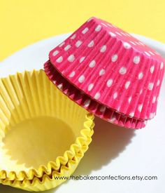 Cupcake Liners in Yellow and Pink Polka by thebakersconfections, $3.50