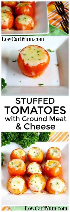 An easy low carb recipe of stuffed tomatoes with meat and cheese. These are always a hit with family and friends! | LowCarbYum.com via @lowcarbyum
