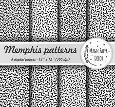 Memphis seamless pattern, Digital paper, Sprinkle, Digital, Black and White, Digital Paper Pack, Scrapbook paper, Abstract geometric pattern