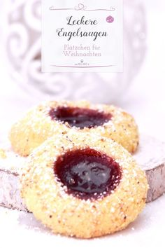 Biscoitos de olhos de anjo para o Natal - Rezepte: Kekse, Plätzchen, Cookies & Pralinen - Easy Cookie Recipes, Cake Recipes, Dessert Recipes, Fancy Recipes, Food Cakes, Cookies Et Biscuits, Cake Cookies, Angel Cookies, Cream Cookies