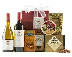 Napa Valley Wine Gift Tower | Includes: 1 bottle each of Rutherford Ranch Cabernet Sauvignon & Chardonnay, Sonoma Jacks Pepper Jack Cheese, Three Pepper Water Crackers, Nunes Farms Chocolate Truffle Almonds, Nunes Farms Roasted Almonds with Sea Salt, Ghirardelli Prestige Milk Chocolate Caramel Bar, Cranberry Harvest Medley----------Shop our Official Mother's Day List by clicking on any image & take 15% off with promo code WINEMOM until 5/10. (some exclusions may apply)