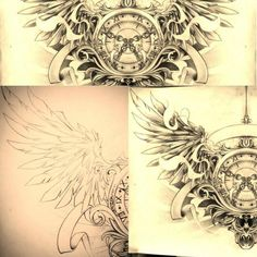 ***DEFINITELY WANT***Timeless... chest tattoo by FingerPrint1404 Undecided on color. Would change the clock so that it reads 1-12. Need a nice time for the hour/minute hand. Maybe 9:00?