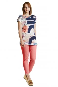 Hose bedruckt korallefarbene Hose von Modee