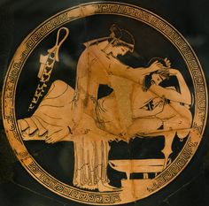 Attic kylix painted by Douris. The inner part shows the unhappy end of the symposium for a intoxicated man. A hetaira, courtesan, tries to help the man holding up his head.   A symposium's scene is portrayed in the cup  external surface.  CARC @ www.beazley.ox.ac.uk  Attic red-figured kylix attica   Attributed to Douris ca. 490-480 a.C.  from Vulci, Etruria Rome, Vatican Museums