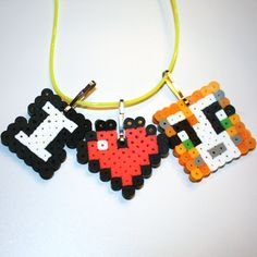 Minecraft Inspired Necklaces perler beads by HenrysMarketplace