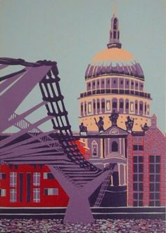 St Paul's Cathedral (with violet and blue) - linocut print in edition of 18 Split Complementary Colors, London Drawing, Greenwich London, Banana Art, Millennium Bridge, London Landmarks, London Skyline, Building Art, London Art