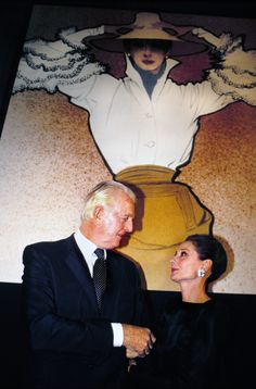 """[Audrey] said of Hubert de Givenchy that he was her greatest friend and [Hubert] said of her that it was a real romance between the two, a real love affair that lasted all their lives,"" - Kerry Taylor (auctioneer who handled the sales of Audrey Hepburn's Givenchy gowns displayed at Sotheby's Paris showroom in 2009.) source Audrey Hepburn and Hubert de Givenchy at a reception honoring Hubert in Paris. October 21, 1991."