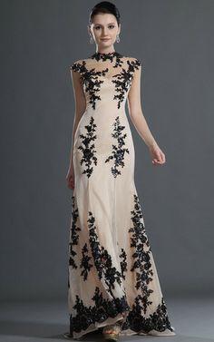 Sweep Zug ärmellos anständiges sexy bodenlanges Abendkleid aus Krepp