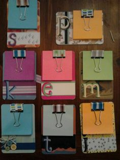 "Mini ""clipboards"" made from paper coasters, Post-it pad and a binder clip. Embellish as desired. Copied the idea from a pin I found here on Pinterest."
