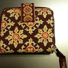 Vera Bradley wallet Maroon and beige vera Bradley wallett with zipper coin area holds 3 cards and I'd window inside Vera Bradley Bags Wallets
