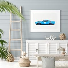 Muscle car Print Racing Car Classic Sports Car Blue Car | Etsy